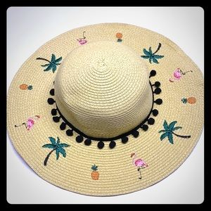 Betsey Johnson Flamingo Floppy Beach Hat